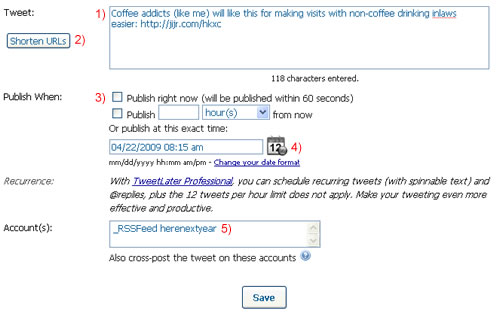Tweet Later screen shot for adding a new Tweet automatically border=2